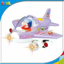 Venta caliente hermosa luz de música b/o avión juguetes eléctricos de dibujos animados avión de juguete musical