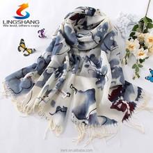 100% Wool Pashmina Cashmere Women Scarf Floral Shawl Scarves Wraps Paisley