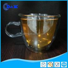 double wall glass for hot drink / double wall glass with handle with decal