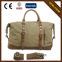 Multifunctional leather canvas gym bag foldable travel bag for mens