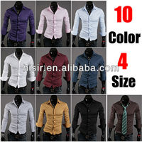 10 Colors Long Sleeves Fashion Style design Mens Slim fit Casual Dress Shirts