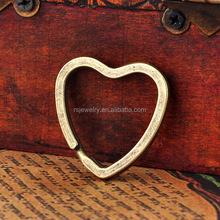 RS-1852 Jewelry Fashion Split Ring High Quality Metal Antique Brass 31*31mm Heart shaped Split key Ring