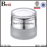 20/30/50g frosted cosmetic jar glass with acrylic lid