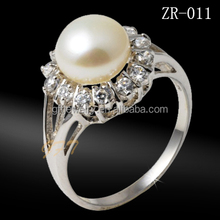 chinese costume fashion jewelry ring with fresh water pearl