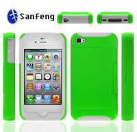 with ID card credit card slot pc+silicone case for apple iphone 4 4s 4g