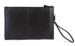 High Quality Drop Shipping Top Grade Multifunctional Simple Black Color Genuine Leather Clutch Office Document Bag #7160A