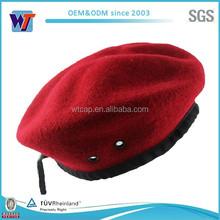 Top quality 100% lã militar do exército khaki preto verde boina vermelha