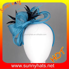 Wholesale Fashion Women Blue Black Sinamay Hair Fascinator Decorate Feather