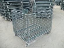 Warehouse Heavy Duty Foldable Galvanized Steel Basket/Steel Storage Cage