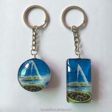 Good quality promotional 3D Digital photo image custom crystal keychain