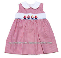 Girl Pink Mini Stripe Smocked Patriotic Sailboats Bishop Dress