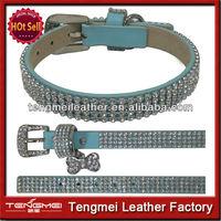 Fashon blue leather diamond wholesale dog collar for pets