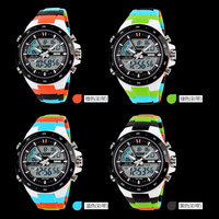 2015 Hot sale factory distributor colorful Dual time plastic analog digital watch