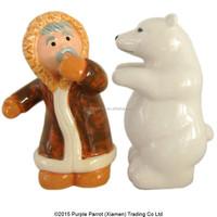 Ceramic Eskimo & Polar Bear Salt and Pepper Set