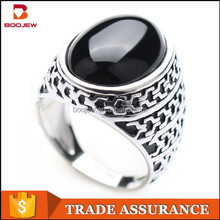 new design finger ring platinum plated ring 925 silver ring with black stone