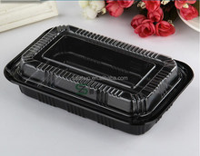 500ml rectangle black PS disposable food container with clear lid