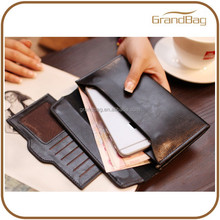 Woman Wallet Long Style Lady Purse Pure Color Women Wallet Genuine Leather Button Thin Lady Wallets with Detachable Card Holders