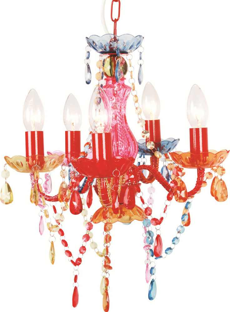 5 Light Multi Coloured Gypsy Crystal Chandelier Ceiling For Girl S Room Ns 120252 Glass Lights Red
