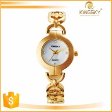 2015 kingsky 2390# china supplier fashion diamond dial chain band vogue 18k gold fancy bracelet wrist watch