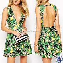 wholesale women clothing pakistani new style dresses floral jungle print open back dress ladies summer noble wear