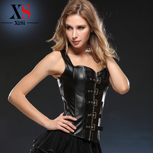 Gothic zipper waist training corsets back support xxxl sexy leather corset
