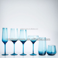 Blue colored drinking glass dinnerware sets