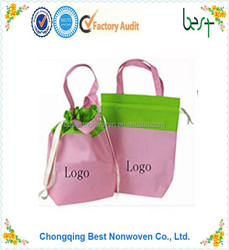 pink beautiful pp non woven drawstring tote bag shopping/promotional bag