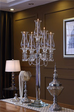 5 Arms Tall Pillar Crystal Candelabra with Lamp Covers for Living Room---SH-1538