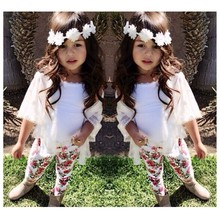 simple design girls clothing set white tops printed floral pants 80-140cm three-pieces suit baby children clothes