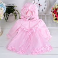2015 High-end bulk wholesale petals style under babies party dress with hat design age 1 year for baby girl XLF001