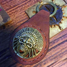 Factory sales custom metal / leather / manual/opener keychain/ Rock and roll style