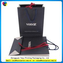 Decorative black shopping square bottom paper bag