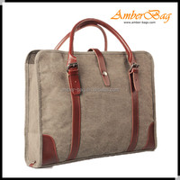 Waterproof canvas laptop bag,messenger bag with leather handle (80571A)