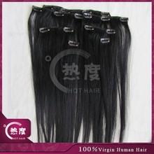 Top grade 7 pieces double drawn cheap 100% human hair clip in hair extension
