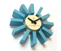 wood wall clock blue block wall clock modern clock