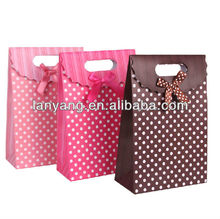 Polka Dot Paper Bags - Christmas Gift Bag Present Boxes Packaging Bags Supply with Ribbon