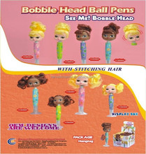 2015 new girl head with stitching hair ball pen