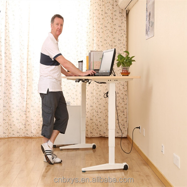 Electric Adjustable Height Computer Table With Two Rectangular Lifting