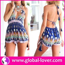 2015 China Factory Wholesale Lady Sexy Outfit for Holiday Super Fabric Summer Open Back Full Print Ethnic Halter Rompers
