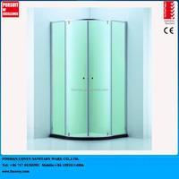 Slim profile quadrant double pivot curved glass shower enclosure CVC48