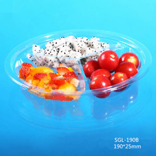 Disposable plastic PET food container with dividers