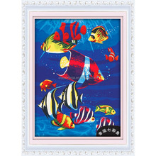 2015 diy painting by number modern fish design seascapes oil paintings on canvas