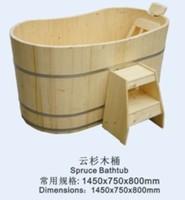 Cheap price wood color wooden veneer barrel bath tub