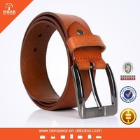 Factory Hot Sell Gun Color Pin Belt Buckle Tan Genuine Cow Leather Fashion Belt For Man
