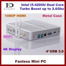 2015 New Kingdel 1920*1080 Mini PC, HTPC, Intel i5-4200U Turbo Boost 2.6Ghz, 4GB RAM, 64GB SSD, Fanless, USB3.0, WiFi, Win 7