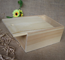 Wholesale Small customise unfinished Pine wood top sliding box wooden slide box