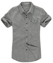 hombres de manga corta camisa de lino