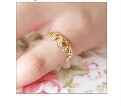 S30311H Sweet Princess Rings Crown Shape Bling Diamond Fancy Rings