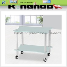 good quality new design cheap tempering glass stainless steel moving tv stand