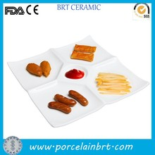 Modern ceramic square white compartment/divided snack plate